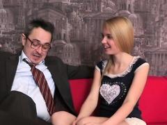 Appealing hotty is delighting old tutor's hard male rod