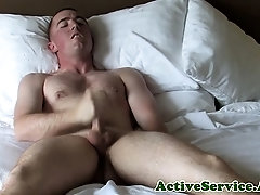 Buzzcut army guy fantasises about dick