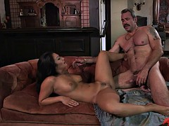 Older man seduces sexy horny brunette for drilling