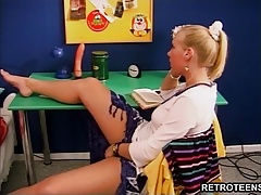 Retro hardcore action with busty teen Cora taking hard cock
