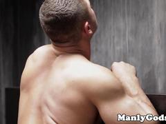 Rimmed muscular hunk sucking off jock