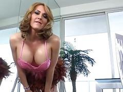 Blonde shemale babe with nice tits sucks off her partner