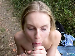 Public Agent Naughty blondes cock-squeezing figure screwed for money in woods