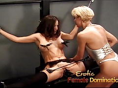 Slutty brunette has her boobs and her pussy pinched by