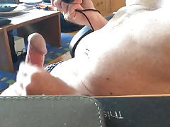Desk top wank from two angles