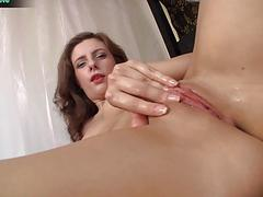 Sexy amateur Sarah Palmer drilling her cunt