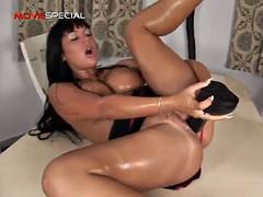 nasty fuckin' bitch shoved huge dildo in her hole