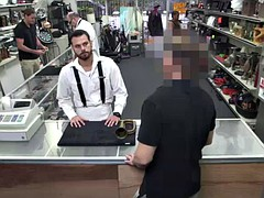 desperate stud tricked on sucking dick over the counter and fucked in doggystyle