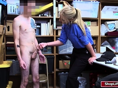 Slut LP officer Rachael Cavali fucks a hunk shoplifter