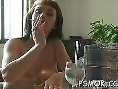 Dishy girlie is sucking fake fang like a pro