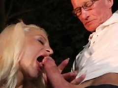 Dirty talking blonde gets fucked Old John rock hard screw yo