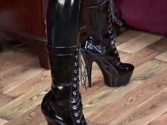 Black latex catsuit anya
