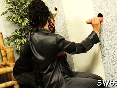 Babe reveals ass at gloryhole taking a big load slime