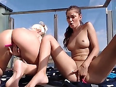 two horny babes pert tits shaved pussy fingering squirting