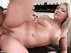 Banging shaved twat and cumming on hot blonde