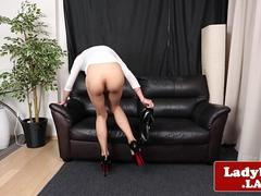 Heeled ladyboy beauty wanking hard cock solo