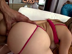 Curvy babe fingers her ass while getting her twat ruined