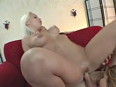 gorgeuos ladies share a lucky guy's thick cock in a threesome