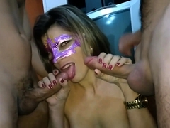 Masked amateur wife fulfills her wild fantasy with two boys