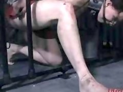 Bondage bitch left in the cage to suffer BDSM movie