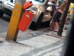 Shameless couple fucking in the street in broad daylight
