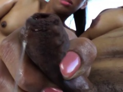 Sultry black tgirls enjoys intense anal play with big dildos