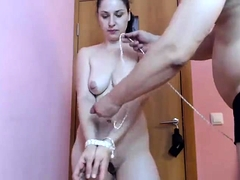 Kinky young babe with lovely tits learns a lesson in bondage