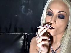 sexy blue eyed blonde smoking longs
