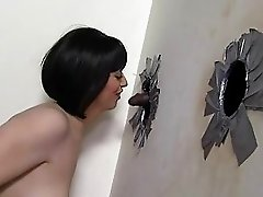 Larkin Love pleasuring black Cocks at gloryhole