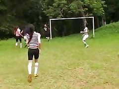 Six Shemales Butt Plugging The Soccer Referee