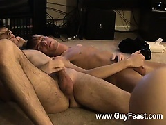 Hot gay Jared is nervous about his very first time stroking off on